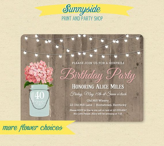 Our rustic mason jar birthday party invitation with barnwood background, your choice of flower!