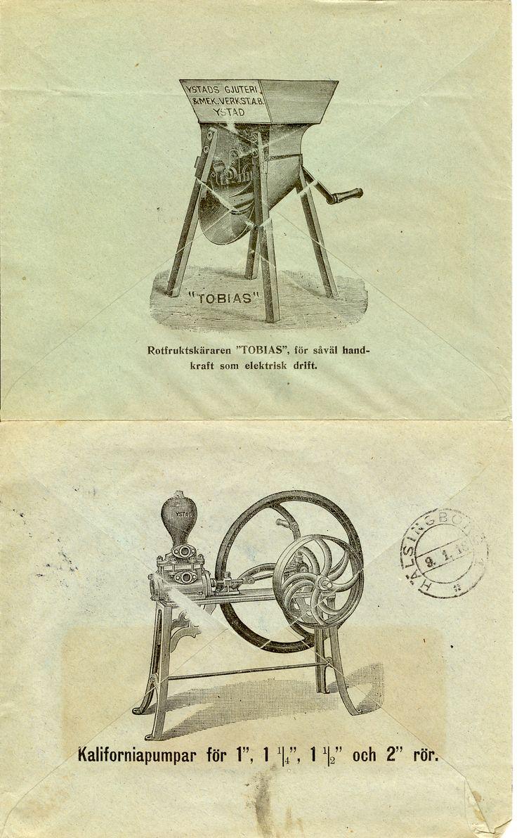 """Reklam på brevbaksidor från Ystads Gjuteri & Mekaniska Verkstads Aktiebolag Rotfruktskäraren """"Tobias"""" och Kaliforniapumpar"""