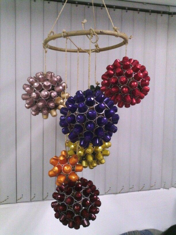 Christmas decor made from enpty nespresso capsules and rattan balls.