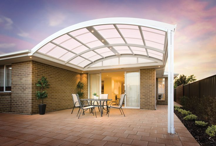 The Stratco Outback Curved Roof Patio is a unique, sleek, curved roof patio design with a contemporary flair, accentuated by its curved roof which arcs out above the veranda, transforming a drab under covered area into a luxury patio, carport or veranda. Give new life to your outdoor entertaining area with a curved roof patio from Stratco! new patio brisbane, luxury patio brisbane.www.hats4houses.com.au