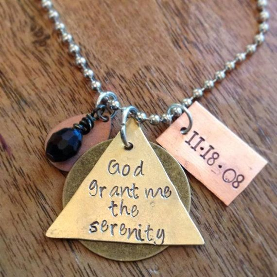 AA Alcoholics Anonymous Anniversary Sobriety Necklace or by KLBaby, $20.00