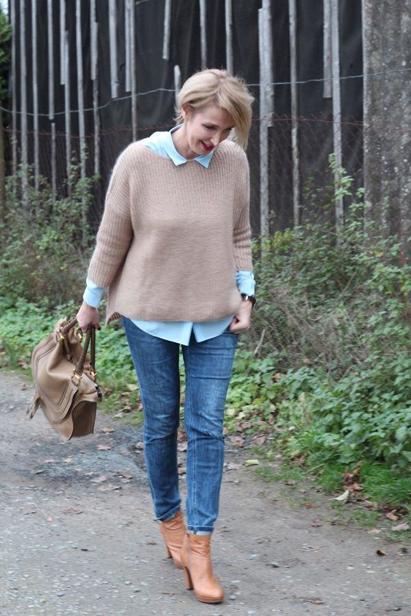 A fashion blog for women over 40 and mature women  Sweater: Zara Blouse: & other Stories Denim: Calvin Klein Booties: Alberto Fermano Bag: Chloe
