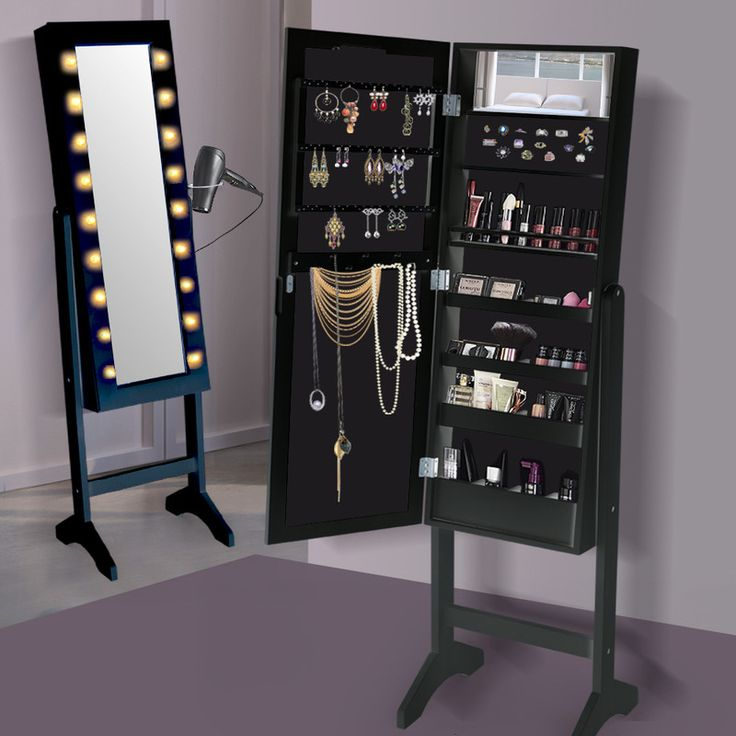 Standing Mirror Jewellery Cabinet w/ 18 LEDs Black | Buy Mirror Jewellery Cabinets