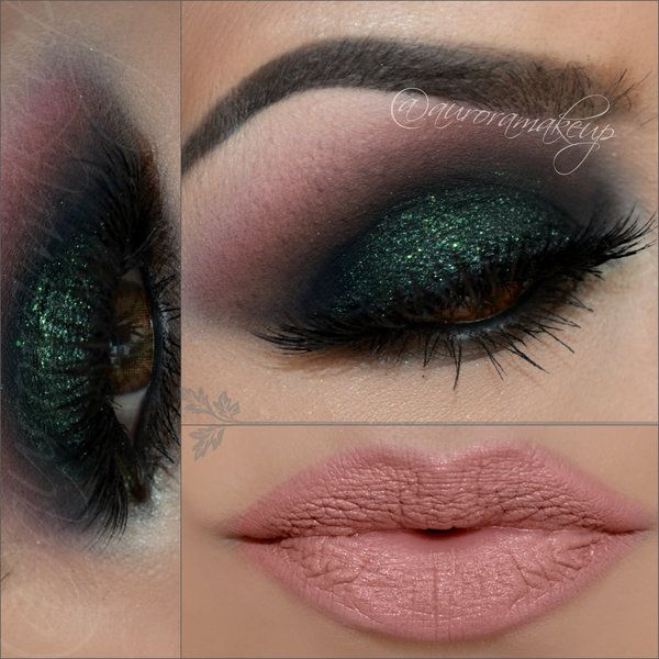 Smokey emerald green paired with pink nude lip