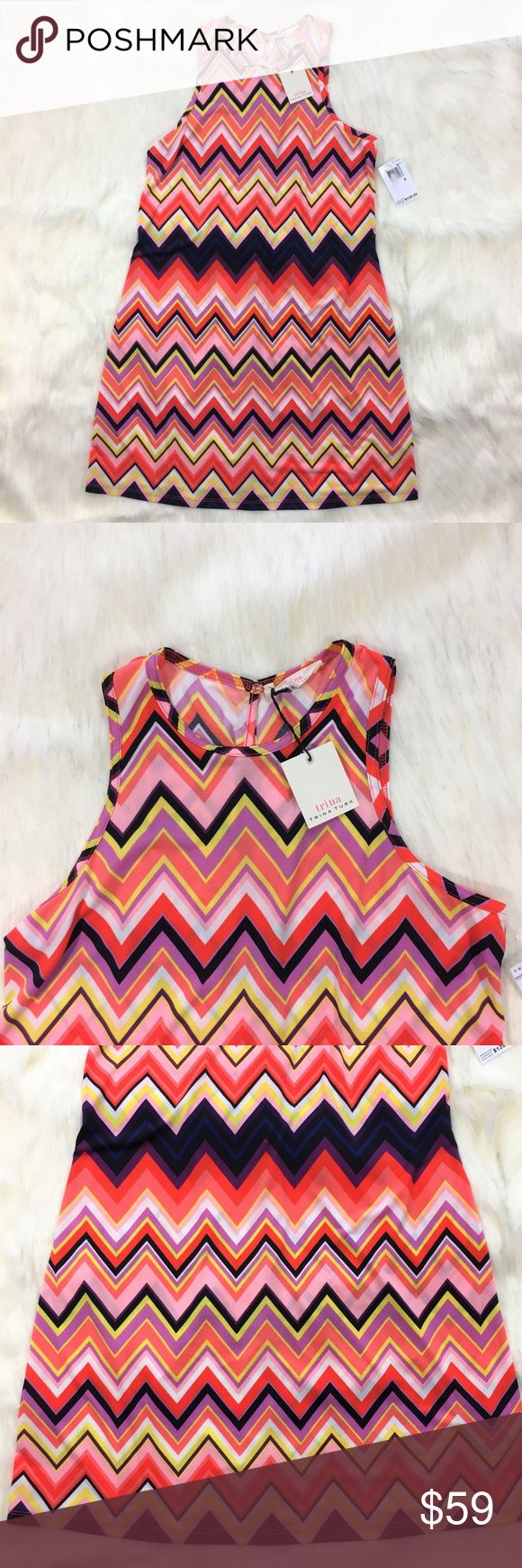 NEW Trina Turk Zig Zag Print Shift Dress Size S Super cute sleeveless shift dress in zig zag print with purple, red-orange and yellow colors. Key hole opening in back with hook and eye closure. 95% Polyester, 5% Spandex Machine wash Approximate measurements: Bust 17"