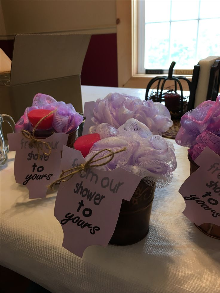 Shower prizes. Purple and grey baby shower