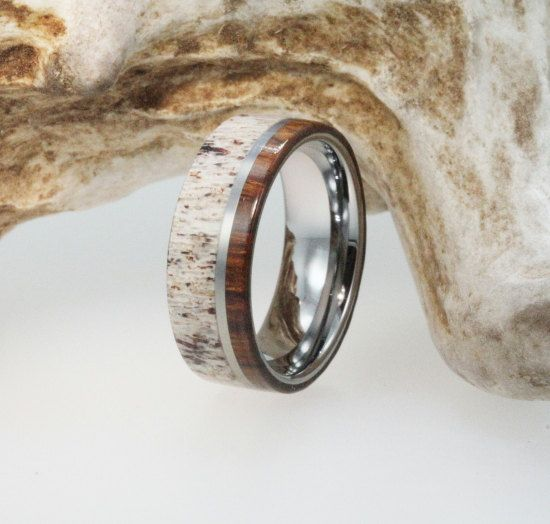 Mens Wedding Band - Titanium Ring Inlaid with Ironwood and Deer Antler - Natural Materials. $299.00, via Etsy.