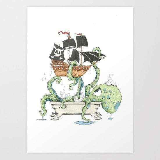 Kraken in the Tub Art Print