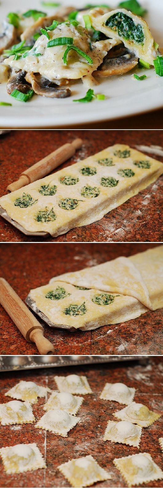 (Italy) Ravioli with goat cheese and spinach filling in Parmesan cream sauce with mushrooms. Homemade from scratch, using a handy ravioli mold: detailed photo tutorial.