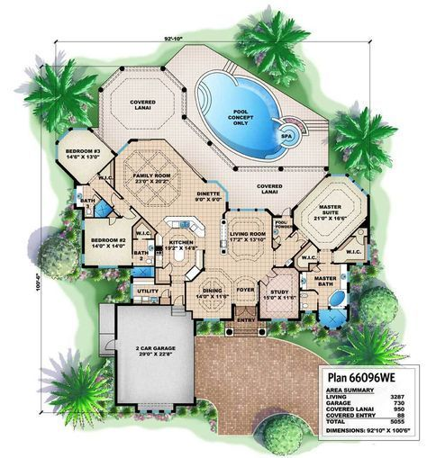 Great Symmetry With Architectural Designs Mediterranean: Best 25+ House Plans With Pool Ideas On Pinterest