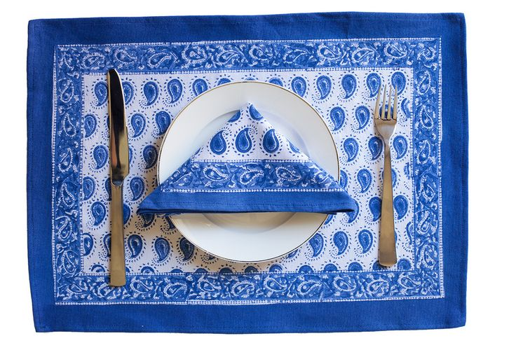 Blue Paisley Design Table Mat & Napkin Set | The Hues of India