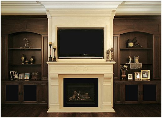 fireplace mantels with tv