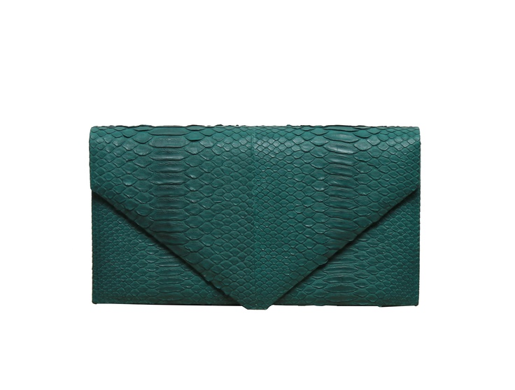Hunting Season Emerald Python Envelope Clutch