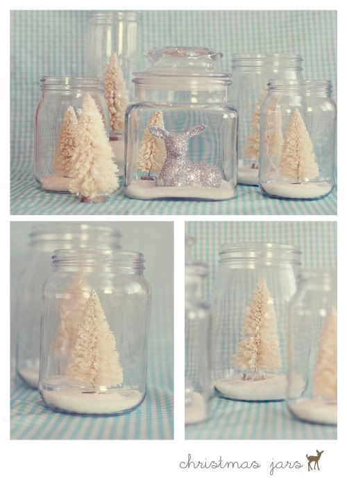 Christmas jars with Epsom salt and dollar store trees