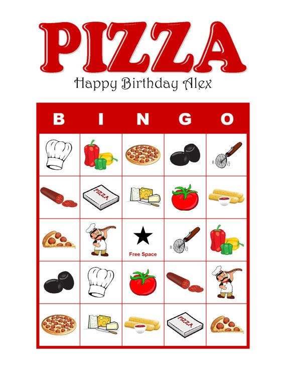 Pizza Party Personalized Birthday Party Bingo Game by TrulyBillEve, $5.00