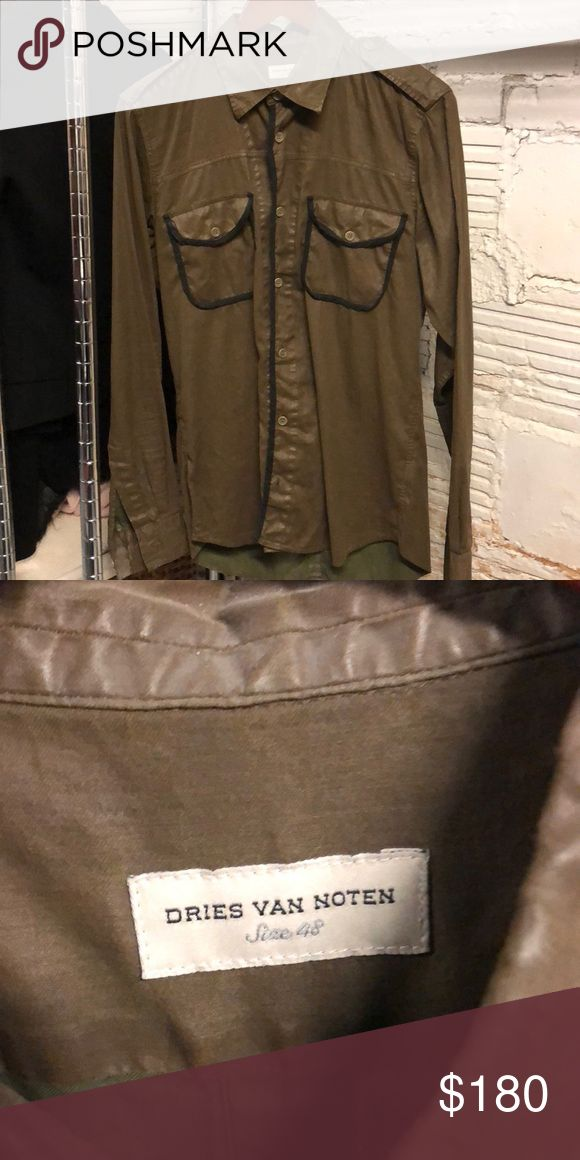 Dries Van Noten shirt Olive green waxed cloth military style shirt with epaulettes and black trim. Purchased from Bergforf Goodman and worn less than 5x. Dries Van Noten Shirts Dress Shirts