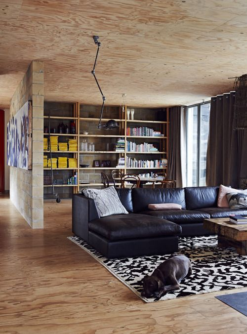 Sitting room. The floor and ceilings are clad in unfinished...