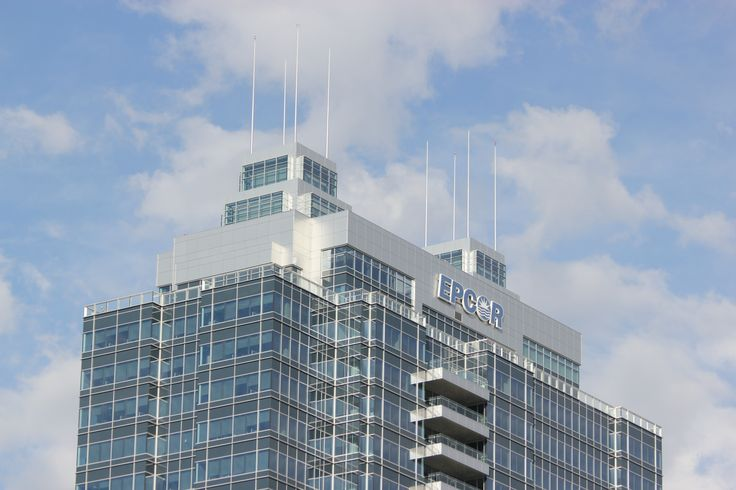 Epcor tower in Edmonton, Alberta; 9' high letters with RGB LED technology for full colour customization.