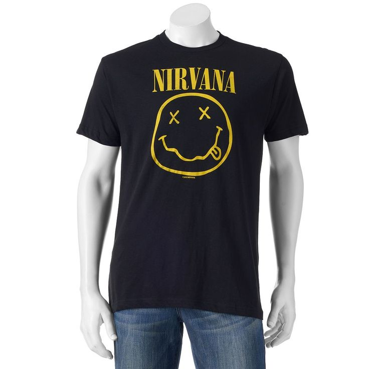 Men's Nirvana Smile Logo Band Tee, Size: Medium, Black