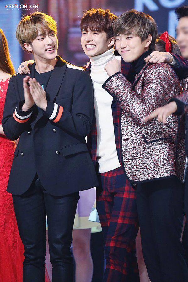 Jin (BTS), Ken (VIXX) and Sanduel (B1A4)*SCREEMS N RUNS AROUND, HITS THE WALL N…