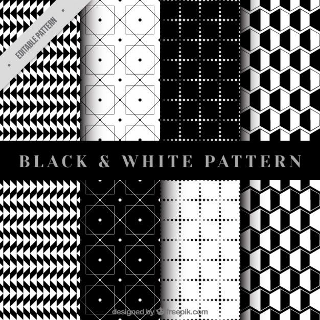 Collection of geometrical pattern in black and white Free Vector