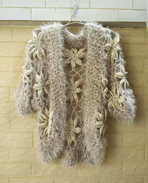 Crochet Sweater Cardigan Short Sleeve