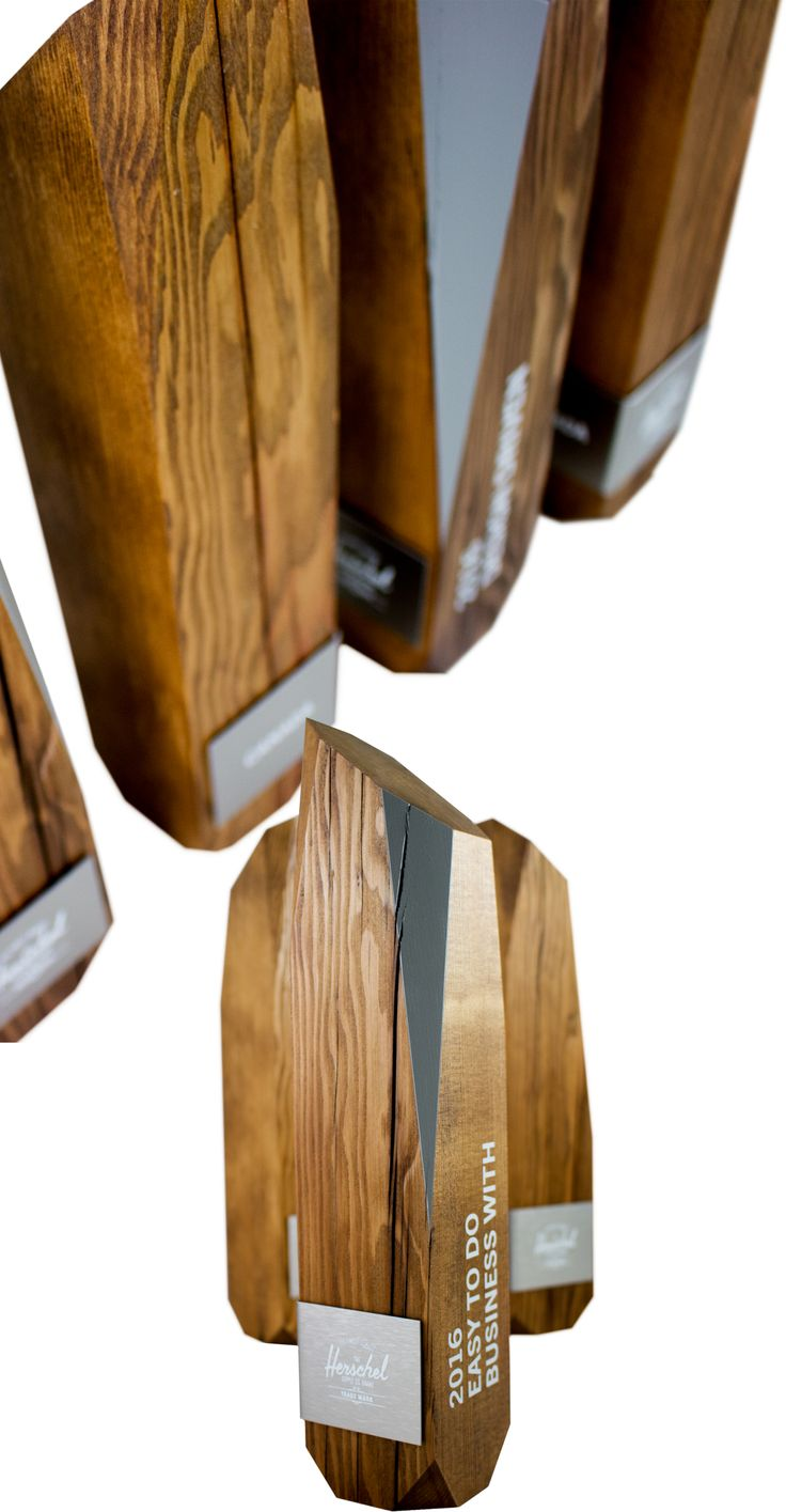 Unity tall modern trophy creative design beautiful materials not glass - Who Loves Herschel Bags We Do These Customised Recovered Wood Awards Were