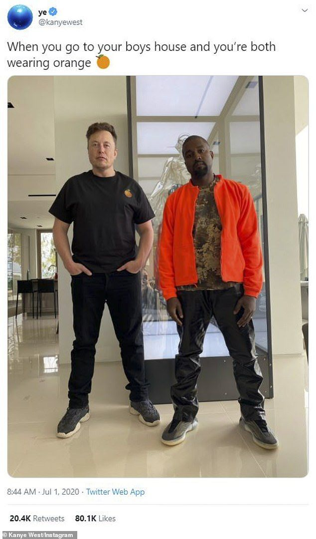 Kanye West Poses With His Boy Elon Musk As They Both Wear Orange In 2020 Kanye West Funny Travel Quotes Chuck Norris Jokes