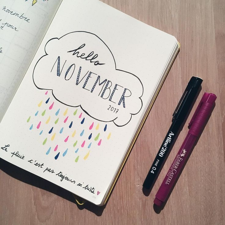 Bullet journal monthly cover page, November cover page, November rain bullet jou…