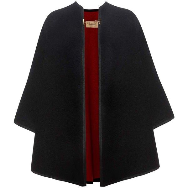 Burberry Wool and Cashmere Cape (8.390 RON) ❤ liked on Polyvore featuring outerwear, coats, coats & jackets, jackets, black, cashmere capes, burberry, woolen cape, burberry cape and wool cape coats