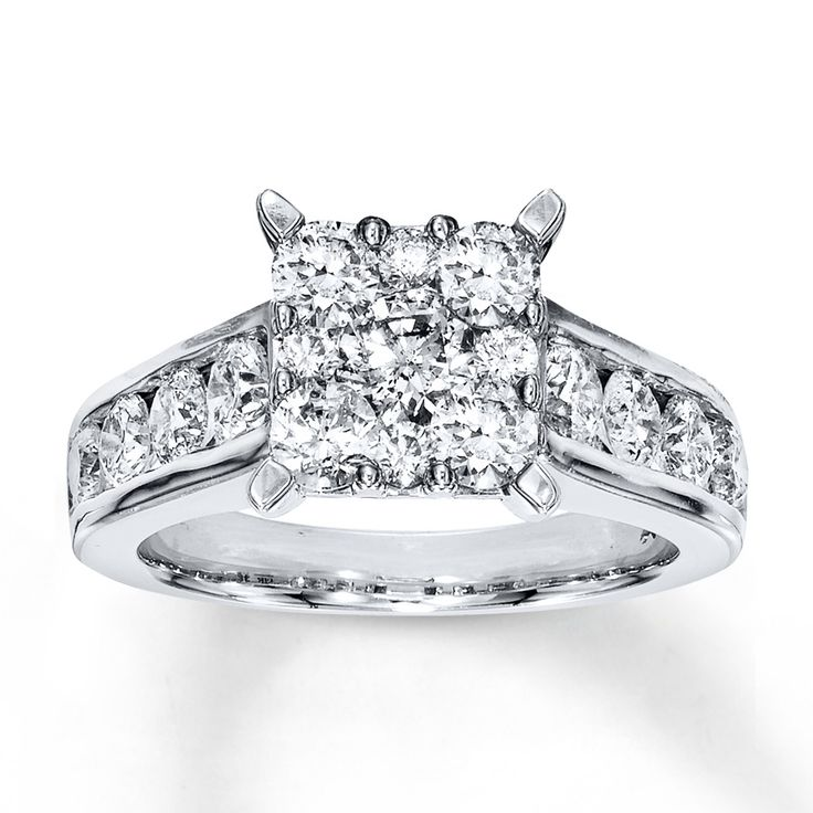 Round diamonds group together to form a square at the center of this fantastic engagement ring for her. Additional round diamonds are channel set into the band of 14K white gold. The ring has a total diamond weight of 2 carats. From the Now & Forever® Bridal Collection.