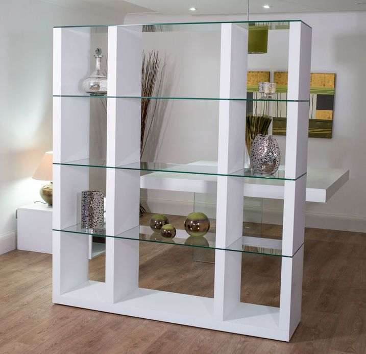 Aria Glass and White Oak Shelving Unit