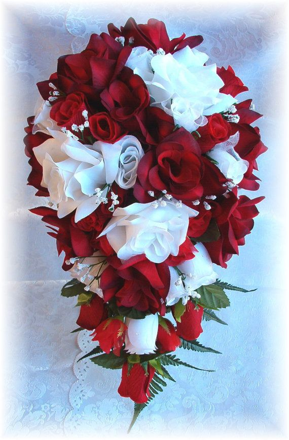 8pc APPLE RED WHITE Silk Wedding Flowers Bridal Bouquet Roses Set