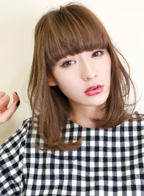 前髪あり♡ミディアムパーマへアカタログ|前髪別 | 美人部