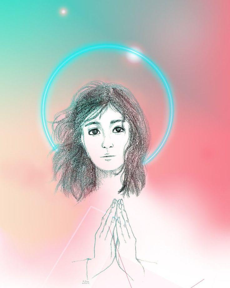 'Praying'-#illustration inspired by the song Mitt hjerte alltid vanker by #MortenHarket og #Sølvguttene and my mom.  https://youtu.be/DnzQd8_05ck  Jieunius(@AJieunius) twitter