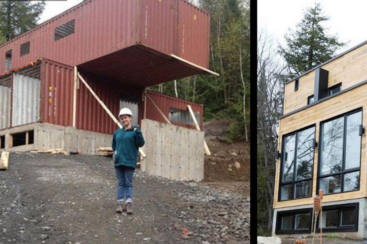 Une Québécoise transforme 4 containers d'expédition en une magnifique et surprenante maison.
