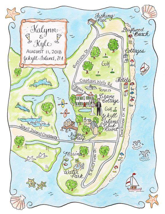 Custom Wedding Map Watercolor Map Of Jekyl Island Etsy Custom
