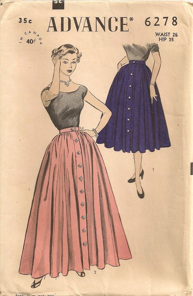 1950s skirt pattern. I really love that kind of skirt, it looks like flower petals flowing along the legs. Pink and black does seem like a good match.