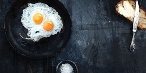 Fried eggs on black