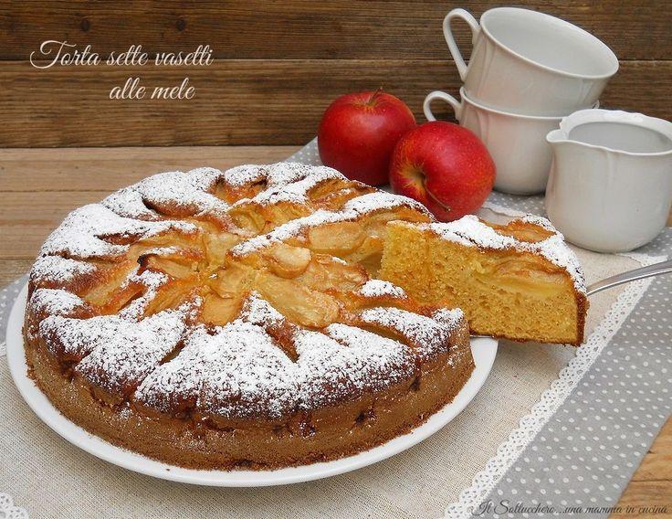 La torta 7 vasetti alle mele è un dolce semplicissimo nel quale non si pesa nulla o quasi, soffice e delicata potete aromatizzarla a piacere.