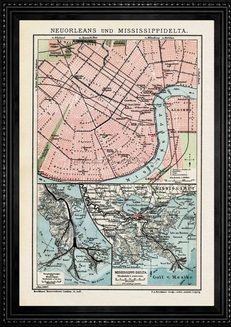 New Orleans Louisiana Mississippi River 1907 Reproduction
