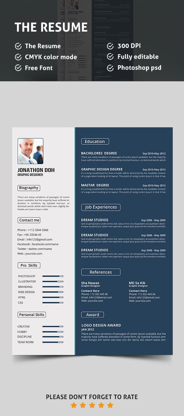 resume builder template free%0A Free Resume PSD template