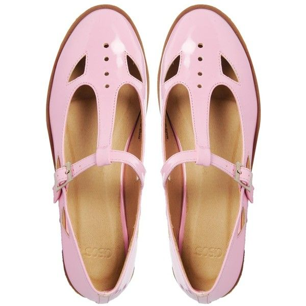 ASOS MOLLY T-Bar Flat Shoes ($19) ❤ liked on Polyvore featuring shoes, flats, pink, footwear, t bar flat shoes, flat heel shoes, asos, t-strap flats and flat shoes