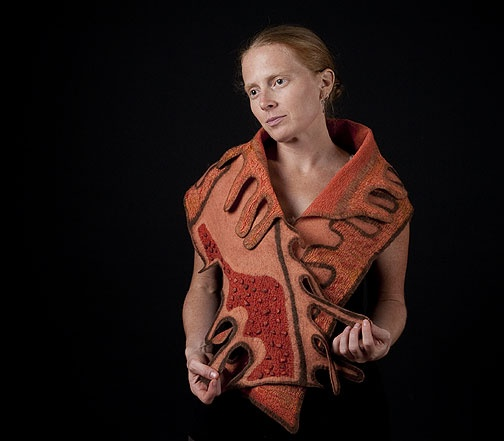Felt shawl worn by the artist, Lisa Klakulak of Strongfelt