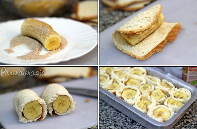 BOLO DE ROLINHOS DE BANANA. Feito com pão de forma.  Pode ser feito com outras frutas e também DIET !!!