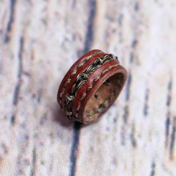 Horsehair and Leather Ring Bohemian Gypsy Urban Inspired Accessory