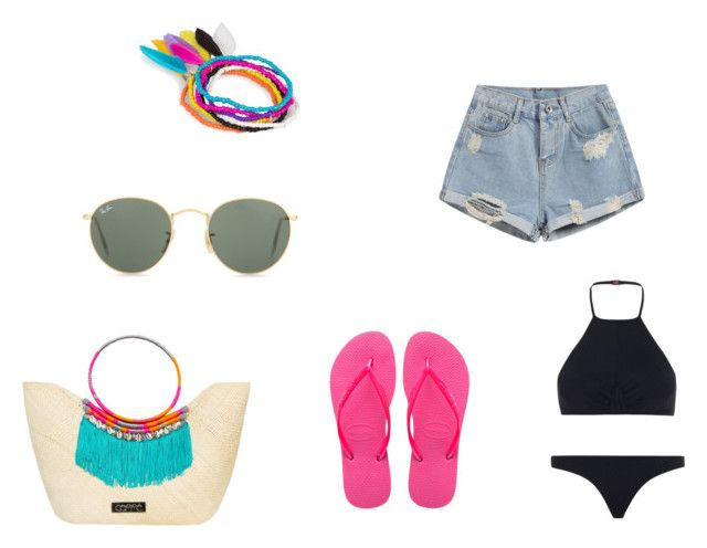 Beach #1 by dianatairum on Polyvore featuring Zimmermann, Havaianas, Caffé, NLY Accessories and Ray-Ban