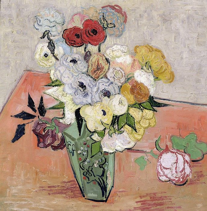 Японская ваза с розами и анемонами. Винсент Ван Гог