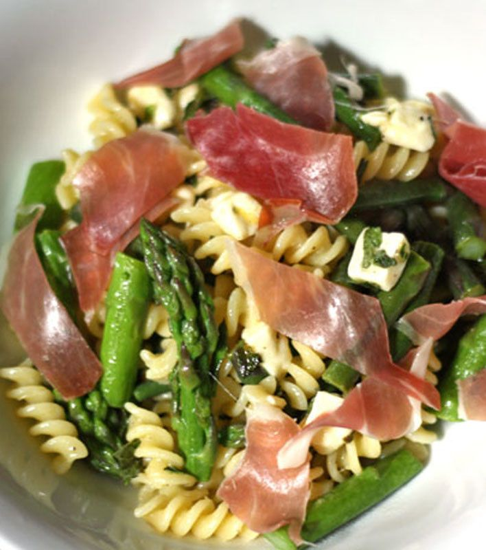 Cheese Curd, Asparagus, and Prosciutto Pasta Salad- would probably sub crumbled feta/goat
