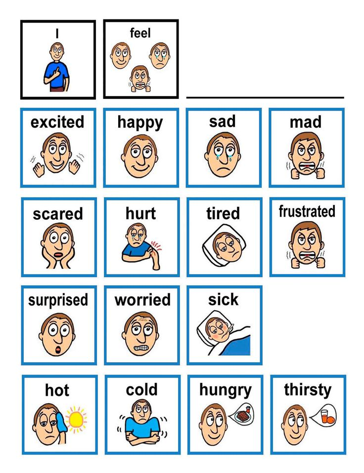 Emotion flash cards Children with autism often have difficulty in expressing and understanding the feelings and facial emotions of others. Show the child them self in a mirror with an emotion card beside their image. Encourage them to imitate the emotion card. This way they can see what the emotion looks like on their own face. Also the child can learn to generalize that the emotion on the card represents their own emotion and what it looks like.